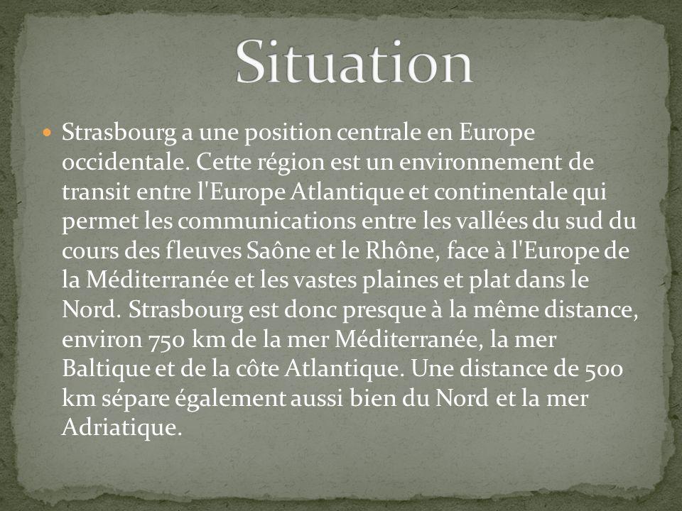 Strasbourg a une position centrale en Europe occidentale. Cette région est un environnement de transit entre l'Europe Atlantique et continentale qui p