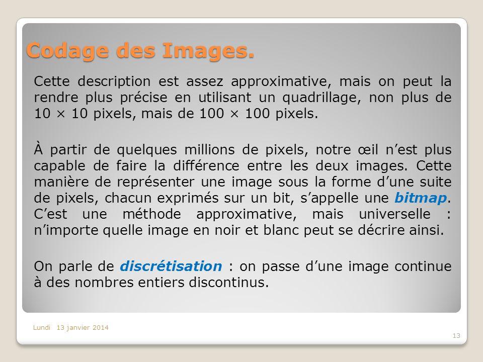 Codage des Images. Cette description est assez approximative, mais on peut la rendre plus précise en utilisant un quadrillage, non plus de 10 × 10 pix