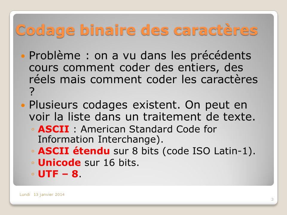 Codage binaire des caractères Problème : on a vu dans les précédents cours comment coder des entiers, des réels mais comment coder les caractères ? Pl