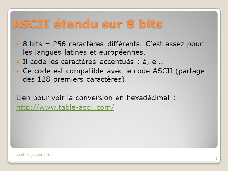 ASCII étendu sur 8 bits 8 bits = 256 caractères différents. Cest assez pour les langues latines et européennes. Il code les caractères accentués : à,