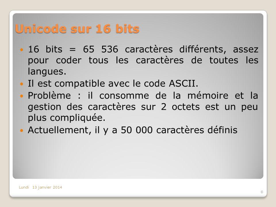 Unicode sur 16 bits 16 bits = 65 536 caractères différents, assez pour coder tous les caractères de toutes les langues. Il est compatible avec le code