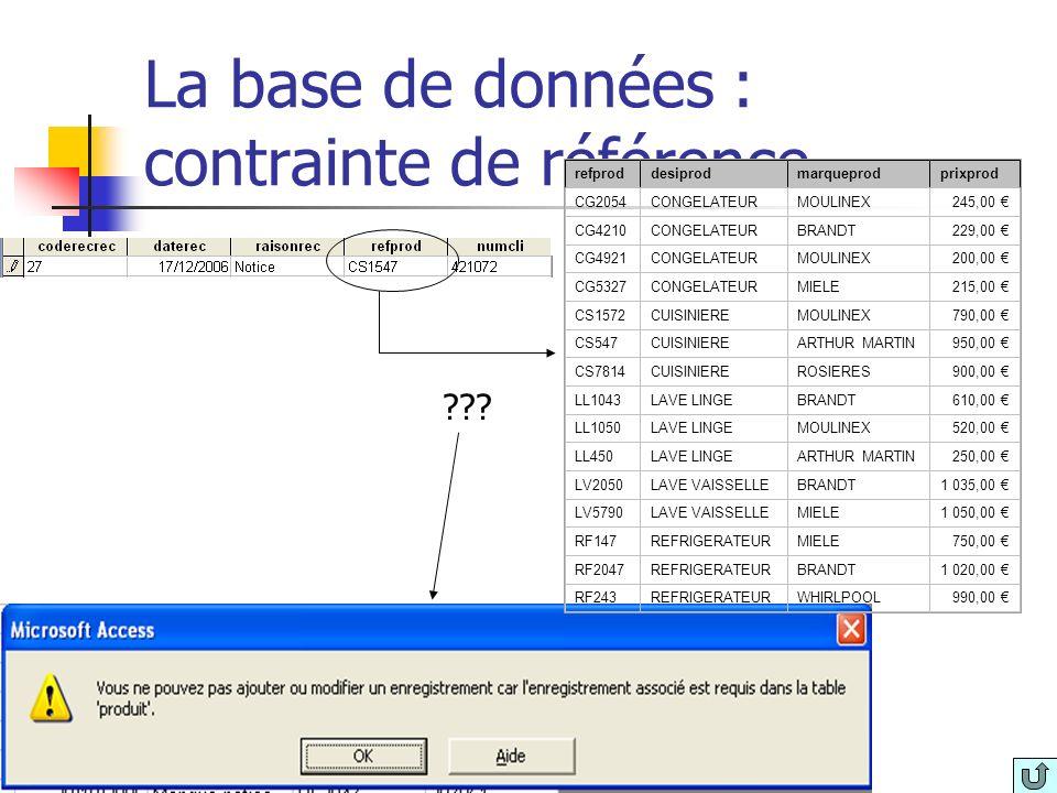 La base de données : contrainte de référence refproddesiprodmarqueprodprixprod CG2054CONGELATEURMOULINEX245,00 CG4210CONGELATEURBRANDT229,00 CG4921CON
