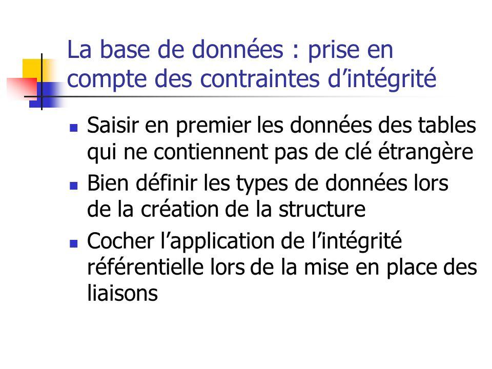 La base de données : prise en compte des contraintes dintégrité Saisir en premier les données des tables qui ne contiennent pas de clé étrangère Bien