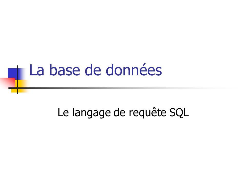 La base de données Le langage de requête SQL