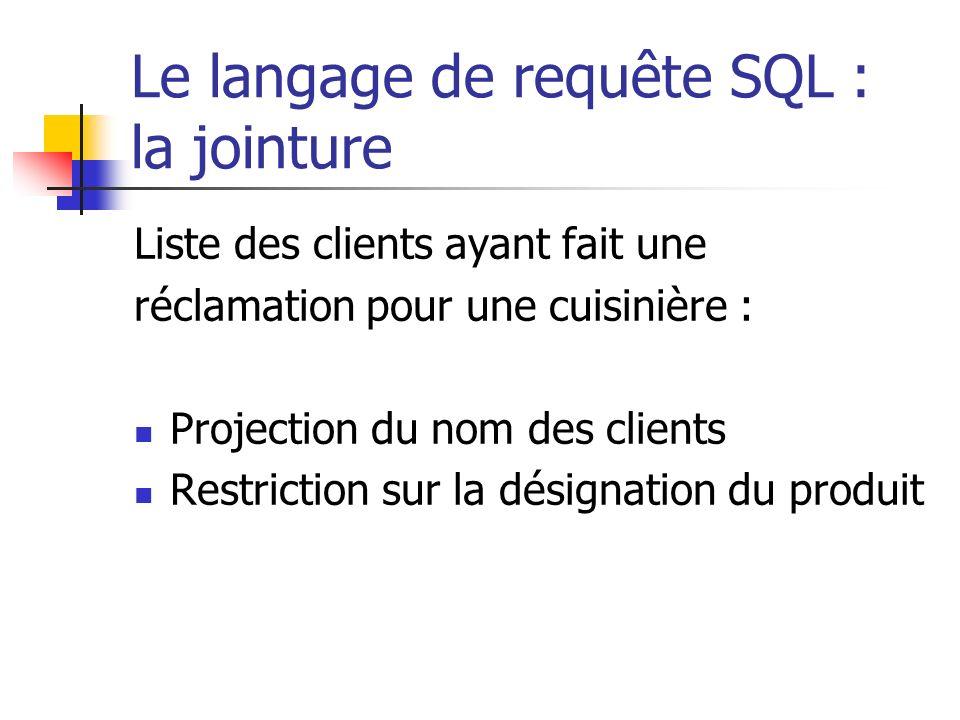 Le langage de requête SQL : la jointure Liste des clients ayant fait une réclamation pour une cuisinière : Projection du nom des clients Restriction s