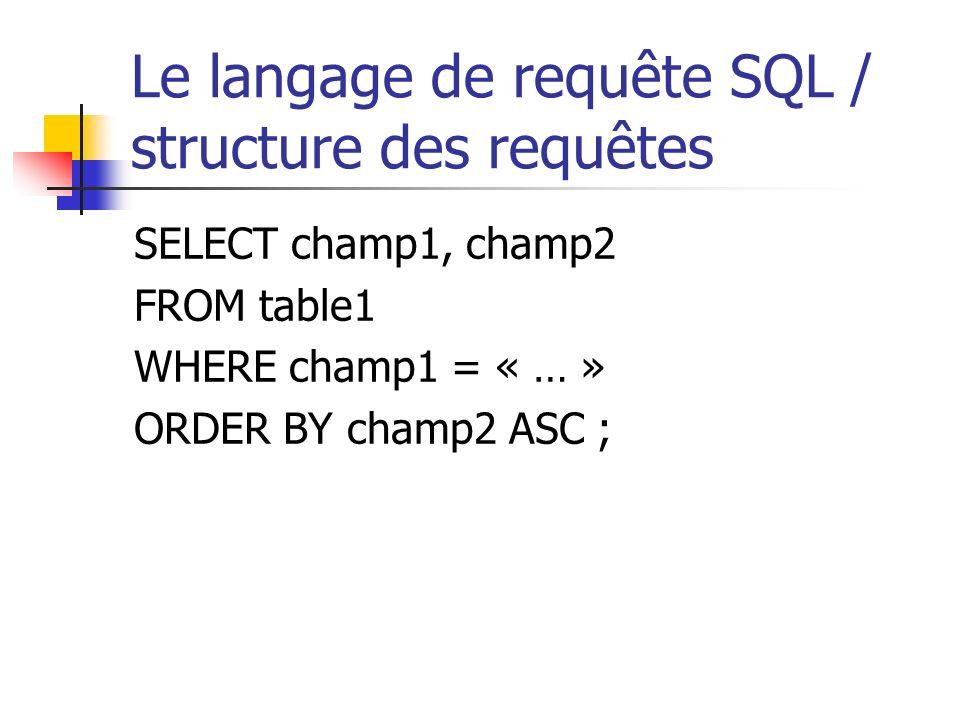 Le langage de requête SQL / structure des requêtes SELECT champ1, champ2 FROM table1 WHERE champ1 = « … » ORDER BY champ2 ASC ;
