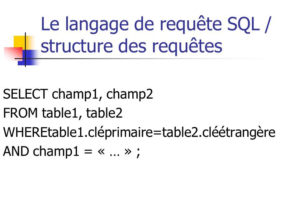 Le langage de requête SQL / structure des requêtes SELECT champ1, champ2 FROM table1, table2 WHEREtable1.cléprimaire=table2.cléétrangère AND champ1 =