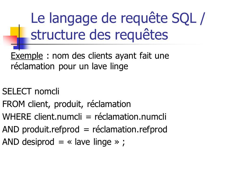 Le langage de requête SQL / structure des requêtes Exemple : nom des clients ayant fait une réclamation pour un lave linge SELECT nomcli FROM client,