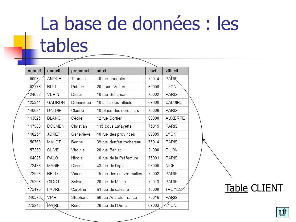 La base de données : les tables numclinomcliprenomcliadrclicpclivillecli 10003ANDREThomas10 rue courtalon75014PARIS 102778BULIPatrice20 cours Vuitton6