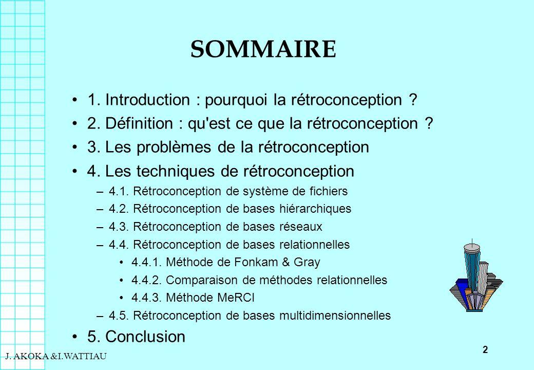 2 J. AKOKA &I.WATTIAU SOMMAIRE 1. Introduction : pourquoi la rétroconception ? 2. Définition : qu'est ce que la rétroconception ? 3. Les problèmes de