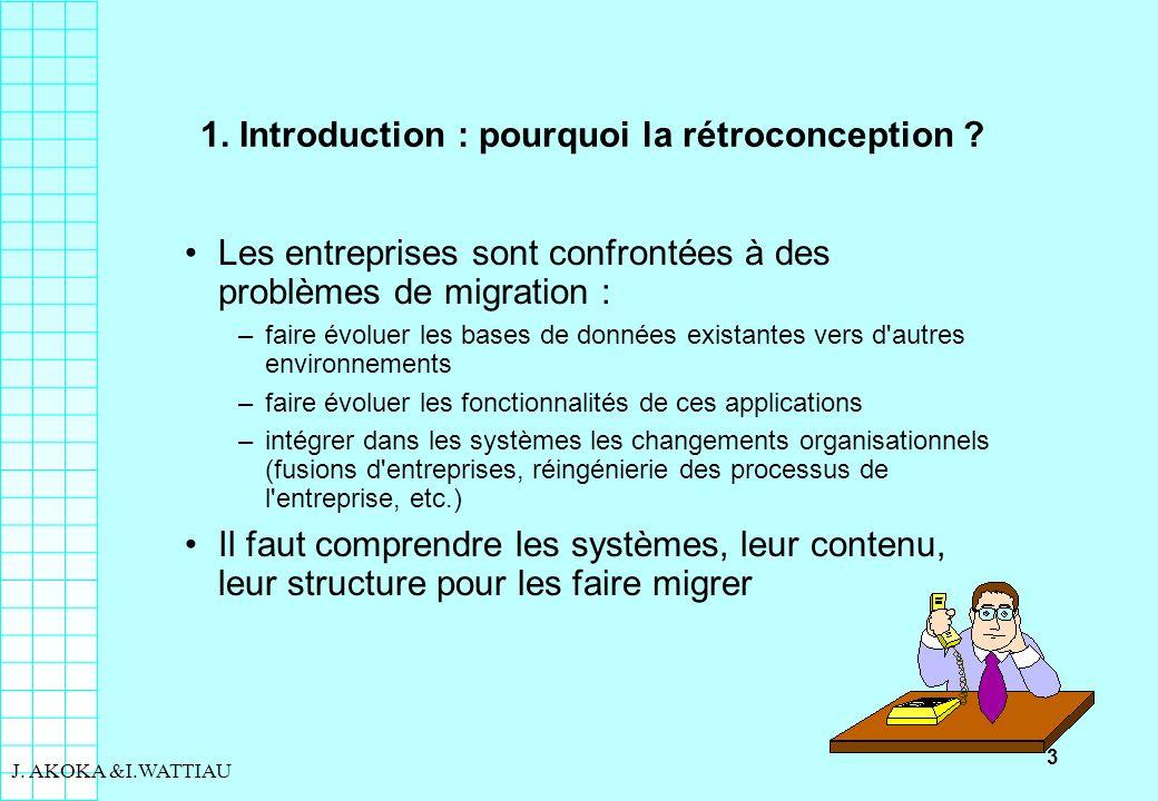 3 J. AKOKA &I.WATTIAU 1. Introduction : pourquoi la rétroconception ? Les entreprises sont confrontées à des problèmes de migration : –faire évoluer l