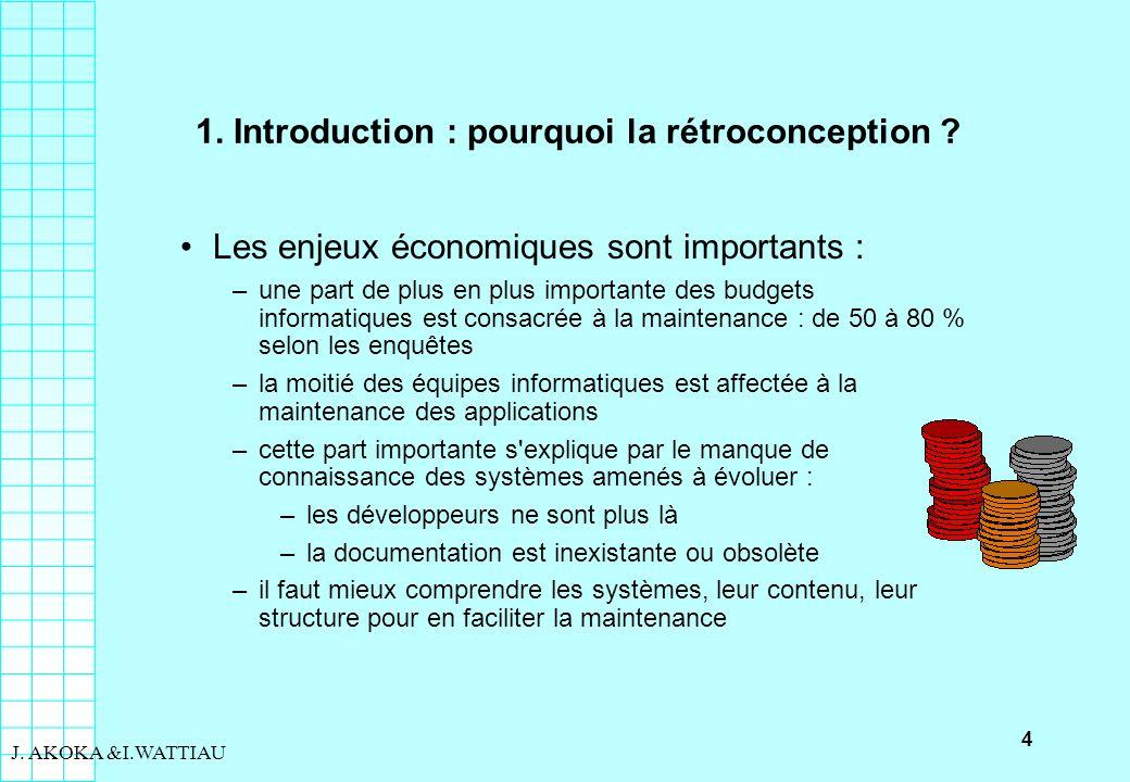 4 J. AKOKA &I.WATTIAU 1. Introduction : pourquoi la rétroconception ? Les enjeux économiques sont importants : –une part de plus en plus importante de