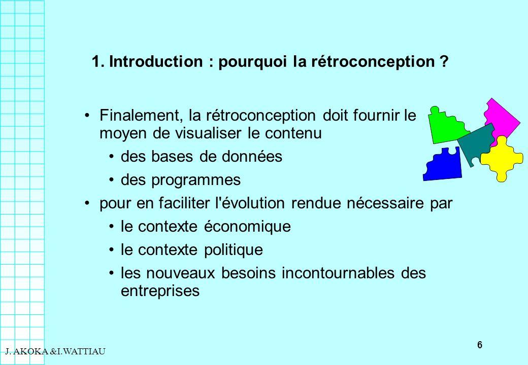 6 J. AKOKA &I.WATTIAU 1. Introduction : pourquoi la rétroconception ? Finalement, la rétroconception doit fournir le moyen de visualiser le contenu de