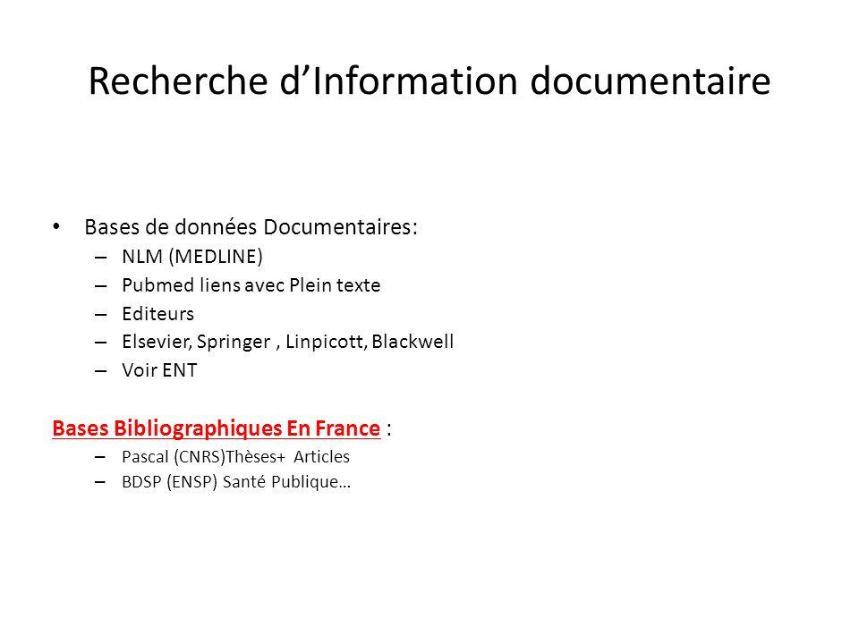 Recherche dInformation documentaire Bases de données Documentaires: – NLM (MEDLINE) – Pubmed liens avec Plein texte – Editeurs – Elsevier, Springer, Linpicott, Blackwell – Voir ENT Bases Bibliographiques En France : – Pascal (CNRS)Thèses+ Articles – BDSP (ENSP) Santé Publique…