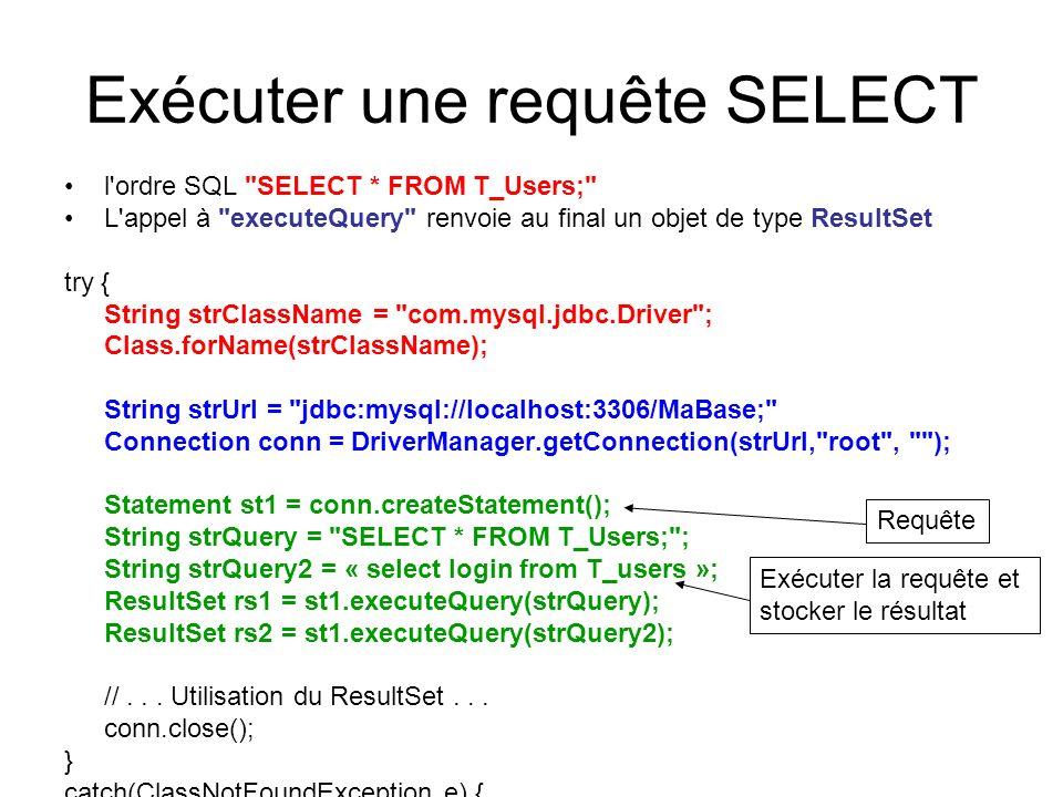 Exécuter une requête SELECT l'ordre SQL
