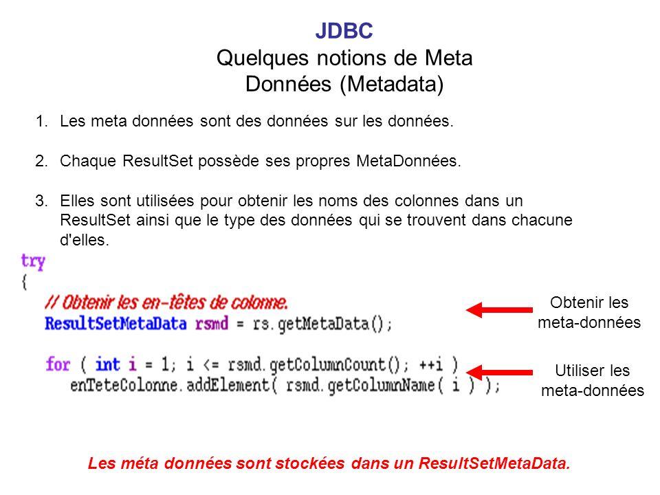 1.Les meta données sont des données sur les données. 2.Chaque ResultSet possède ses propres MetaDonnées. 3.Elles sont utilisées pour obtenir les noms