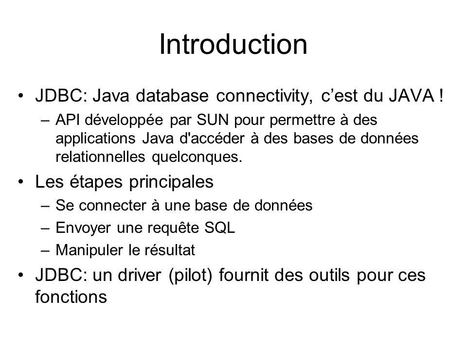 Introduction JDBC: Java database connectivity, cest du JAVA ! –API développée par SUN pour permettre à des applications Java d'accéder à des bases de