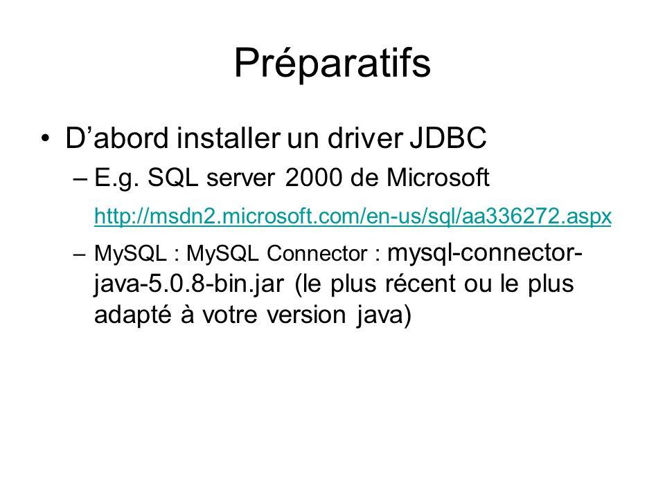 Préparatifs Dabord installer un driver JDBC –E.g. SQL server 2000 de Microsoft http://msdn2.microsoft.com/en-us/sql/aa336272.aspx –MySQL : MySQL Conne