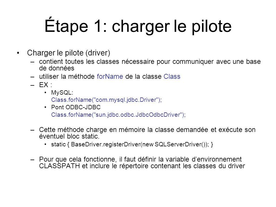 Étape 1: charger le pilote Charger le pilote (driver) –contient toutes les classes nécessaire pour communiquer avec une base de données –utiliser la m