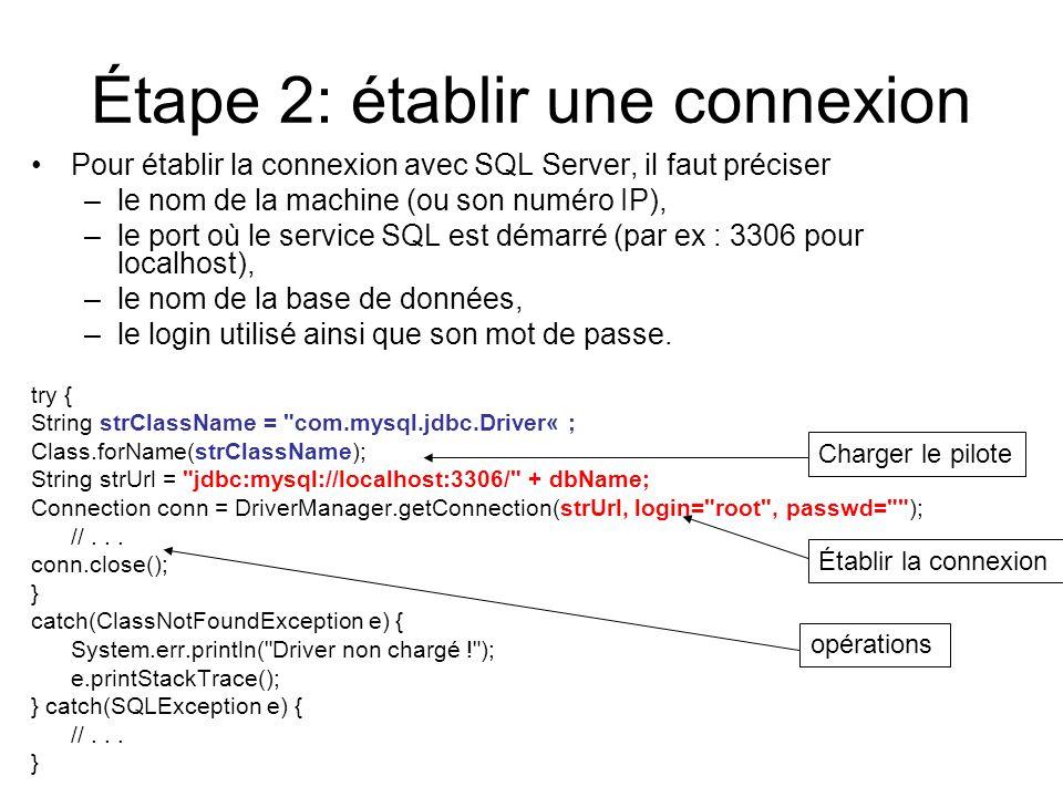 Étape 2: établir une connexion Pour établir la connexion avec SQL Server, il faut préciser –le nom de la machine (ou son numéro IP), –le port où le se