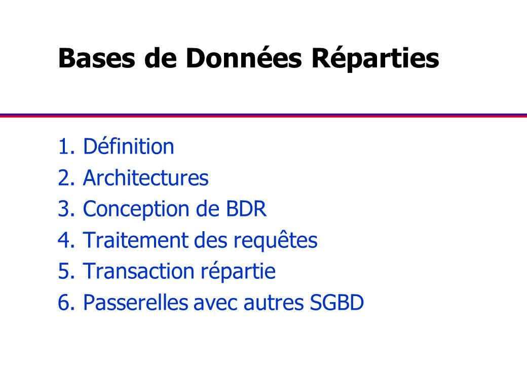 Bases de Données Réparties 1. Définition 2. Architectures 3. Conception de BDR 4. Traitement des requêtes 5. Transaction répartie 6. Passerelles avec