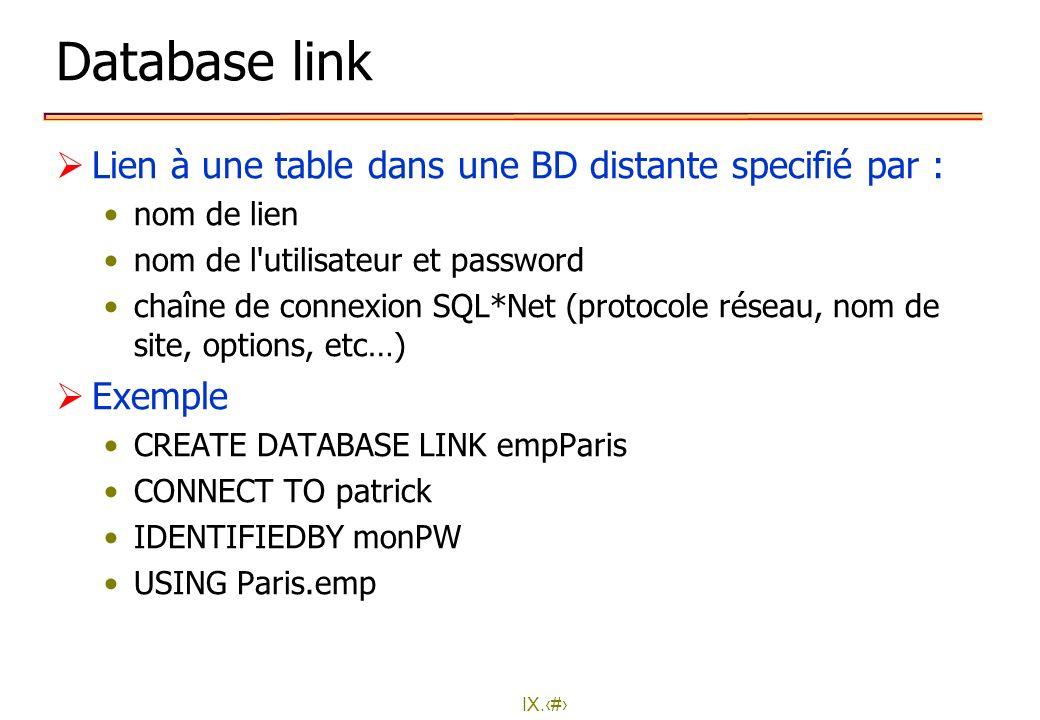 IX.32 Database link Lien à une table dans une BD distante specifié par : nom de lien nom de l'utilisateur et password chaîne de connexion SQL*Net (pro
