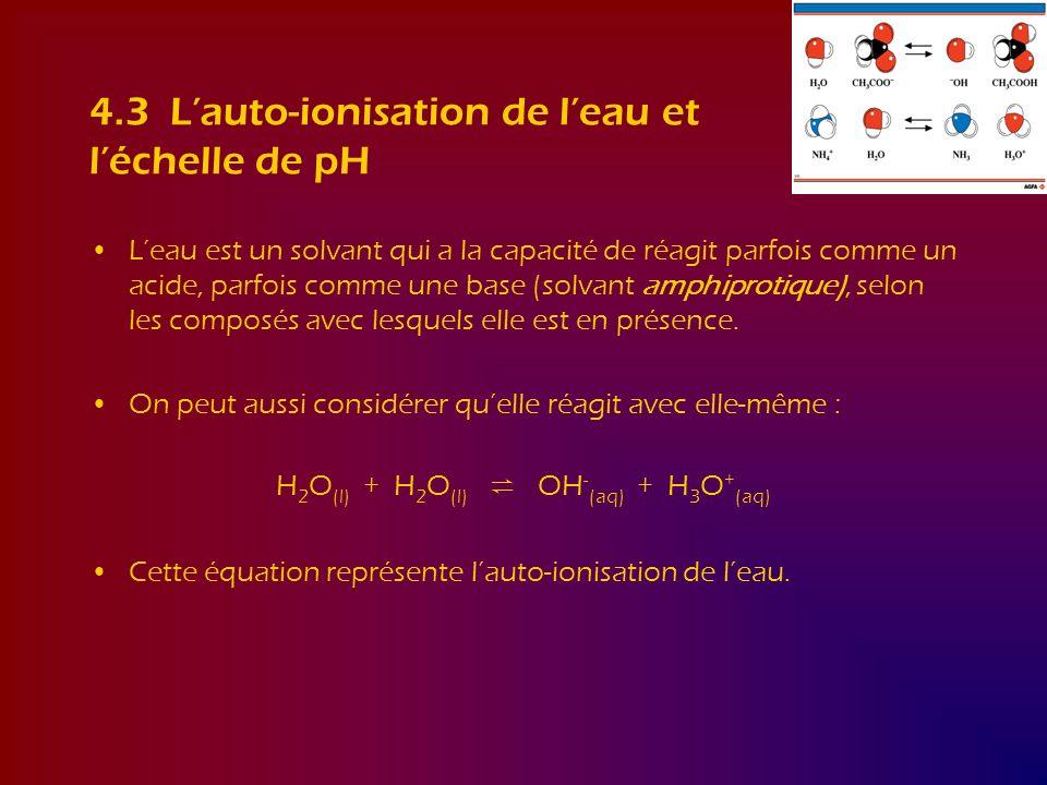 4.3 Lauto-ionisation de leau et léchelle de pH Leau est un solvant qui a la capacité de réagit parfois comme un acide, parfois comme une base (solvant