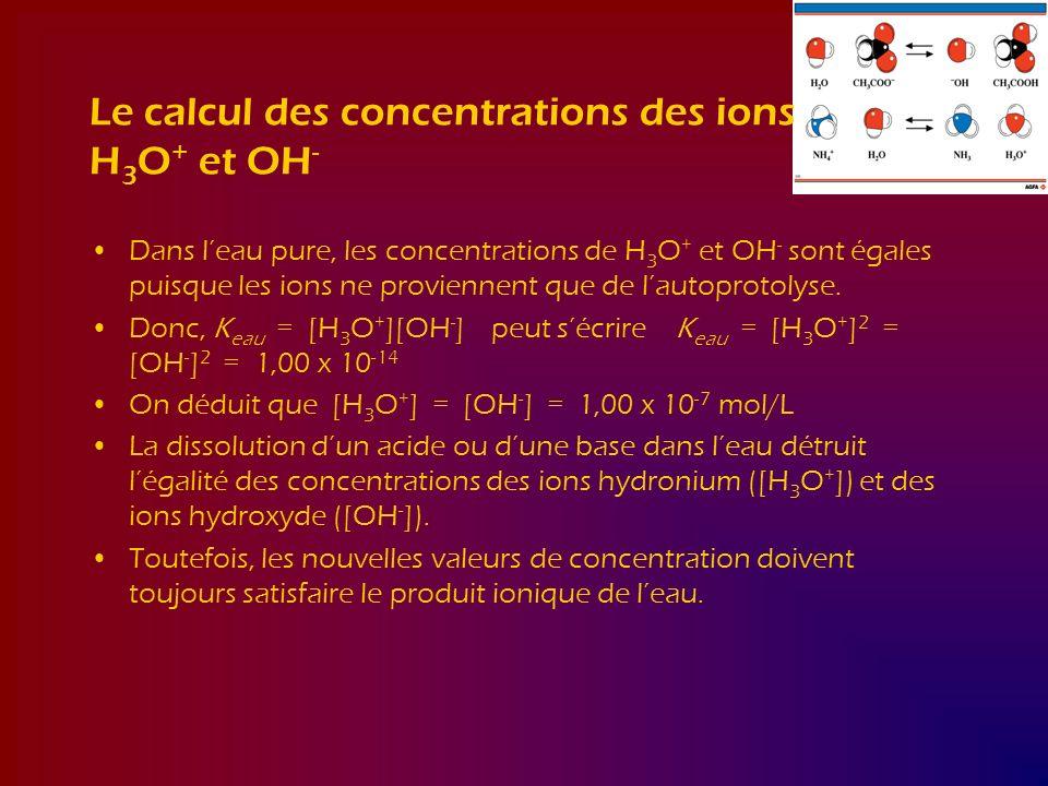 Le calcul des concentrations des ions H 3 O + et OH - Dans leau pure, les concentrations de H 3 O + et OH - sont égales puisque les ions ne proviennen