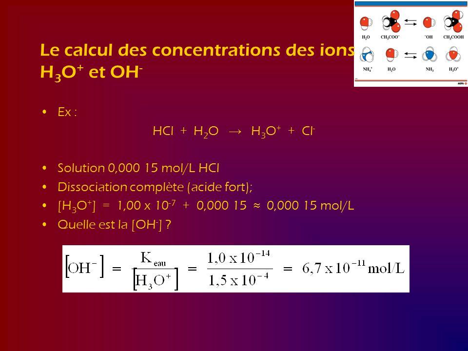 Le calcul des concentrations des ions H 3 O + et OH - Ex : HCl + H 2 O H 3 O + + Cl - Solution 0,000 15 mol/L HCl Dissociation complète (acide fort);