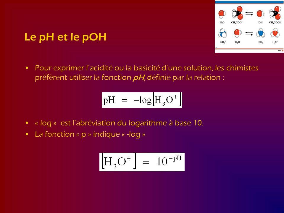 Le pH et le pOH Pour exprimer lacidité ou la basicité dune solution, les chimistes préfèrent utiliser la fonction pH, définie par la relation : « log