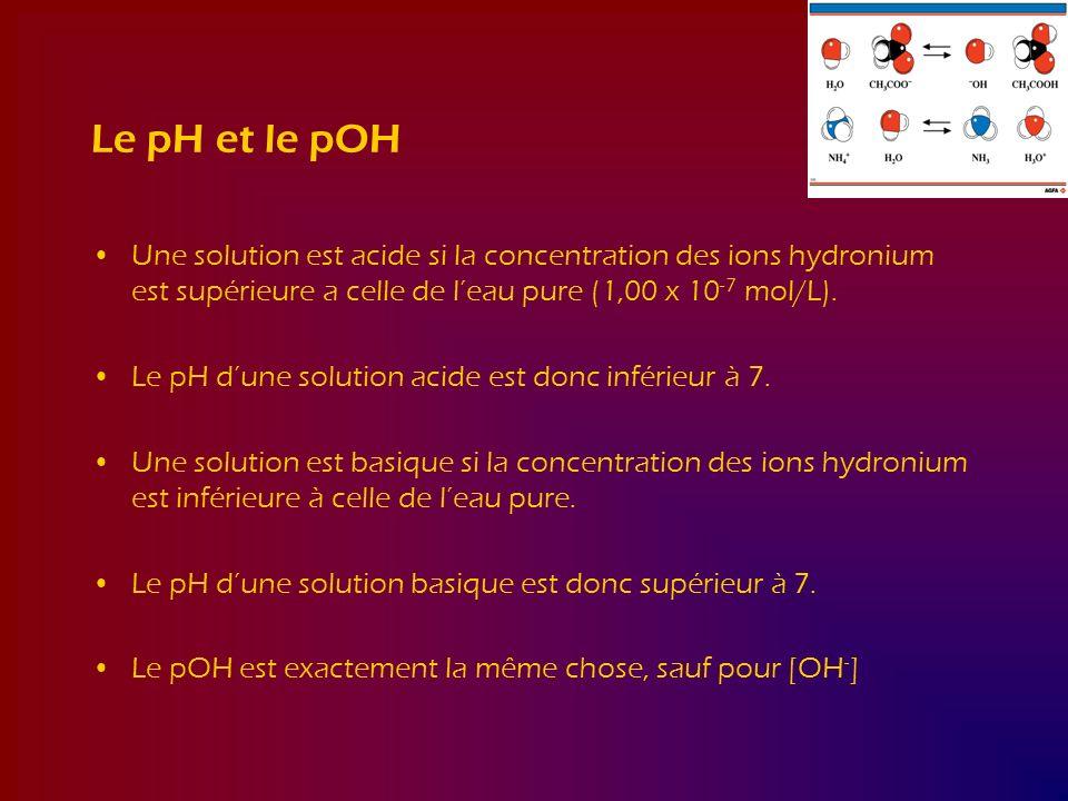 Le pH et le pOH Une solution est acide si la concentration des ions hydronium est supérieure a celle de leau pure (1,00 x 10 -7 mol/L). Le pH dune sol