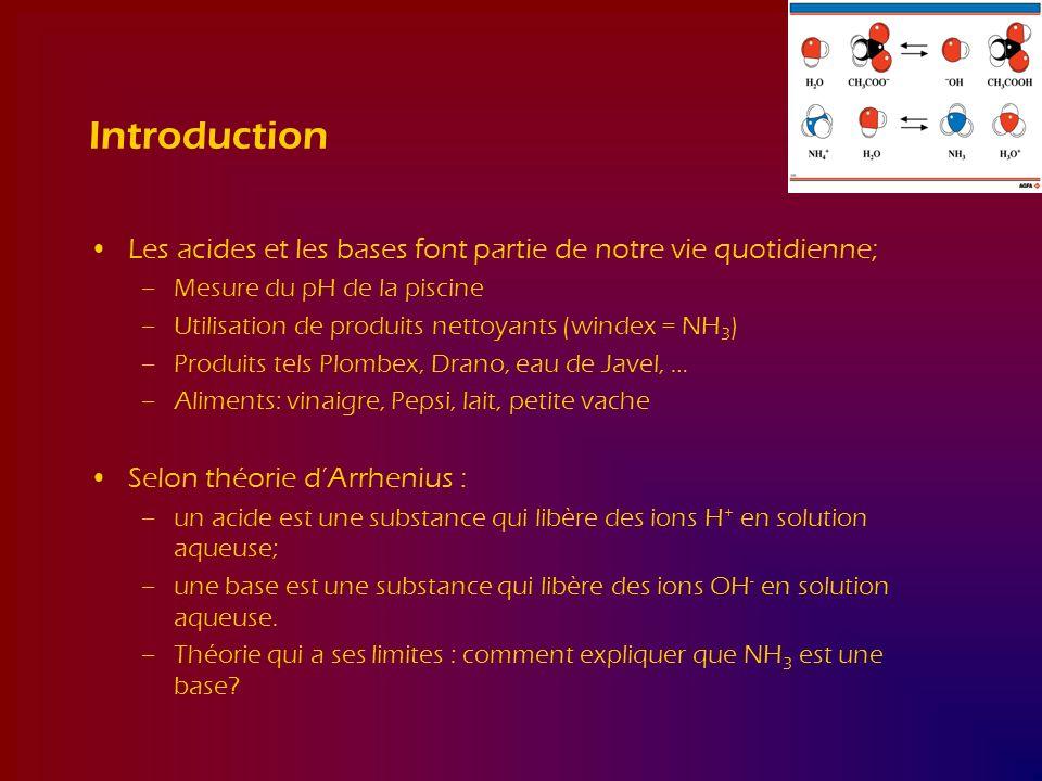 Introduction Les acides et les bases font partie de notre vie quotidienne; –Mesure du pH de la piscine –Utilisation de produits nettoyants (windex = N