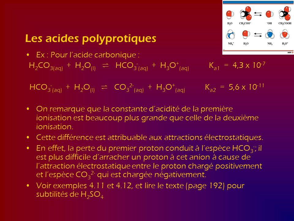 Les acides polyprotiques Ex : Pour lacide carbonique : H 2 CO 3(aq) + H 2 O (l) HCO 3 - (aq) + H 3 O + (aq) K a1 = 4,3 x 10 -7 HCO 3 - (aq) + H 2 O (l