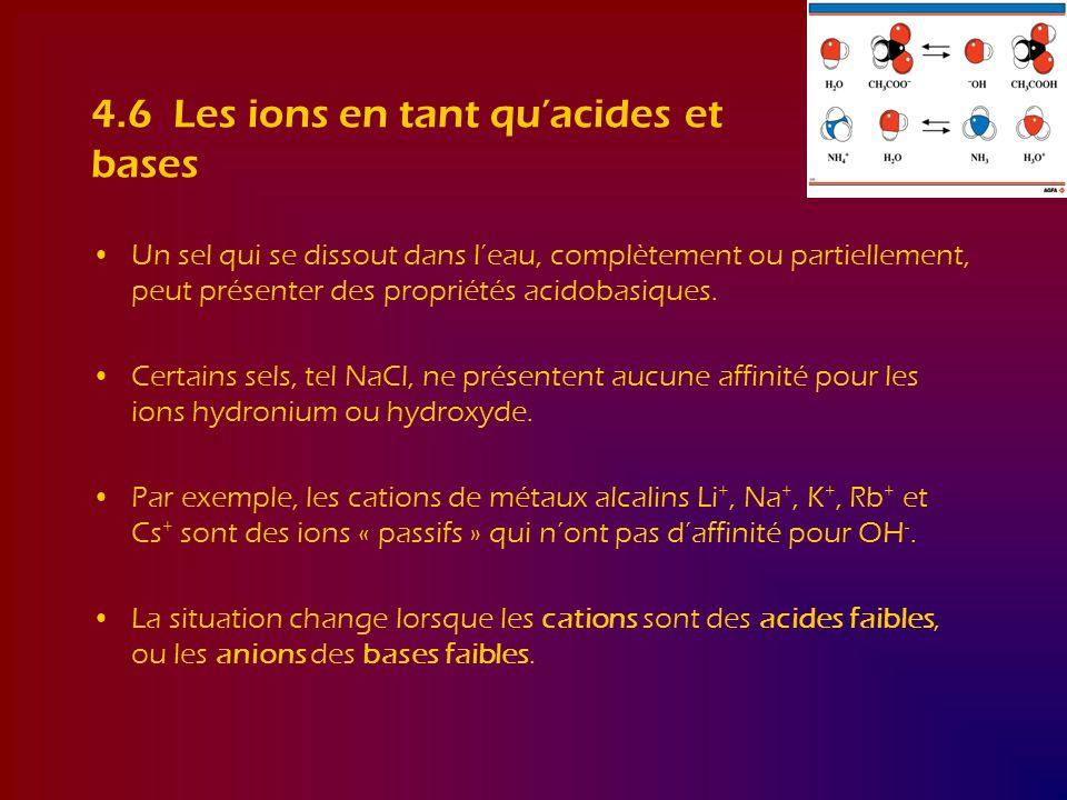 4.6 Les ions en tant quacides et bases Un sel qui se dissout dans leau, complètement ou partiellement, peut présenter des propriétés acidobasiques. Ce