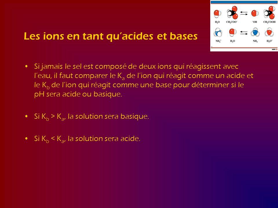 Les ions en tant quacides et bases Si jamais le sel est composé de deux ions qui réagissent avec leau, il faut comparer le K a de lion qui réagit comm