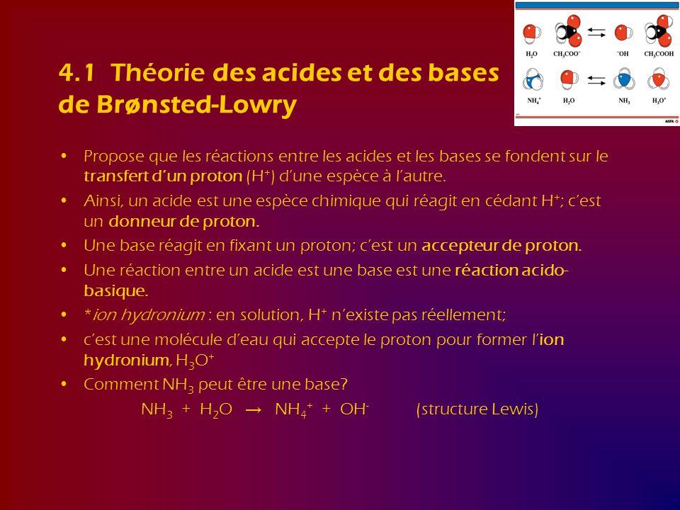 4.1 Théorie des acides et des bases de Brønsted-Lowry Propose que les réactions entre les acides et les bases se fondent sur le transfert dun proton (