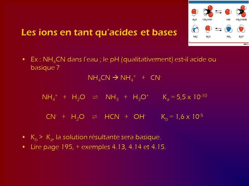 Les ions en tant quacides et bases Ex : NH 4 CN dans leau ; le pH (qualitativement) est-il acide ou basique ? NH 4 CN NH 4 + + CN - NH 4 + + H 2 O NH