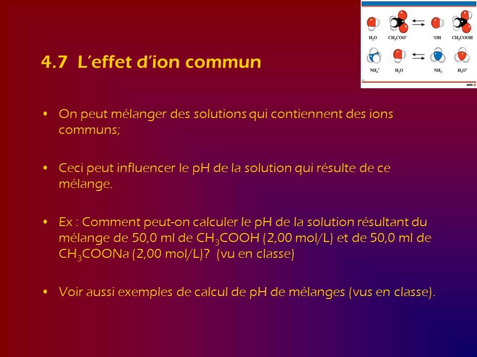 4.7 Leffet dion commun On peut mélanger des solutions qui contiennent des ions communs; Ceci peut influencer le pH de la solution qui résulte de ce mé