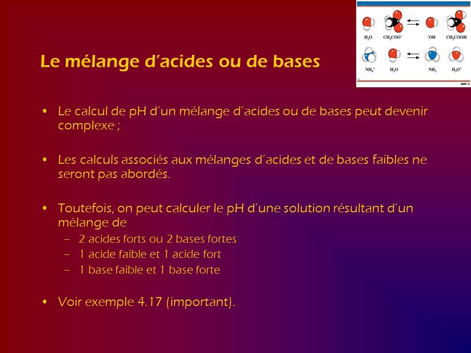 Le mélange dacides ou de bases Le calcul de pH dun mélange dacides ou de bases peut devenir complexe ; Les calculs associés aux mélanges dacides et de