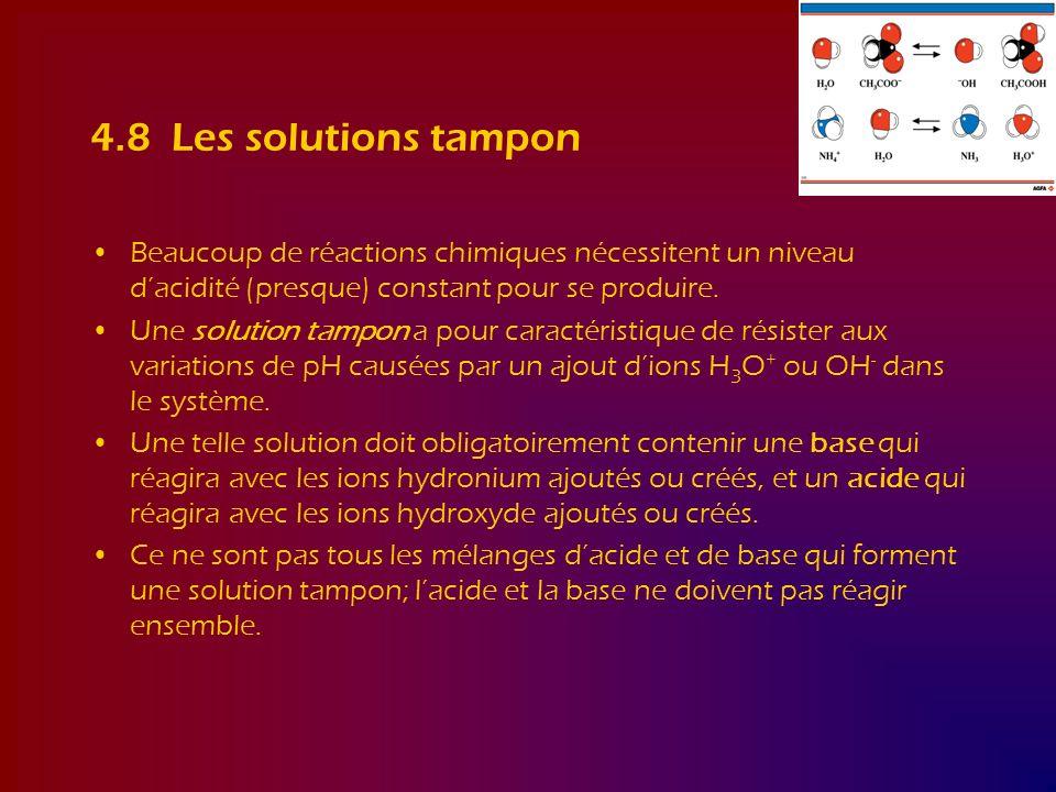 4.8 Les solutions tampon Beaucoup de réactions chimiques nécessitent un niveau dacidité (presque) constant pour se produire. Une solution tampon a pou