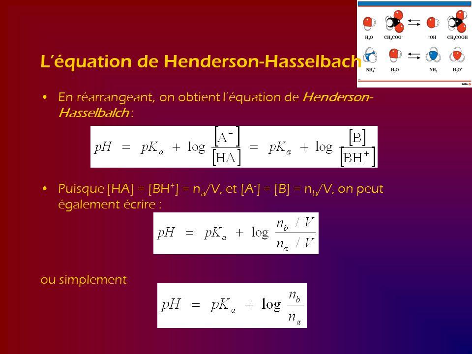 Léquation de Henderson-Hasselbach En réarrangeant, on obtient léquation de Henderson- Hasselbalch : Puisque [HA] = [BH + ] = n a /V, et [A - ] = [B] =