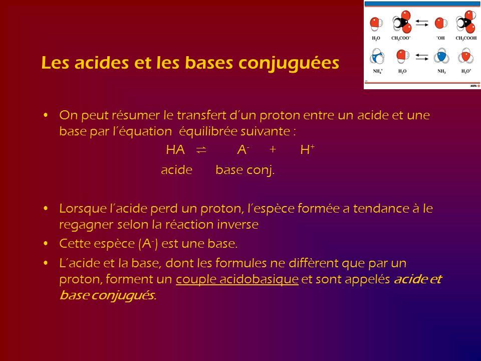 Les acides et les bases conjuguées On peut résumer le transfert dun proton entre un acide et une base par léquation équilibrée suivante : HA A - + H +