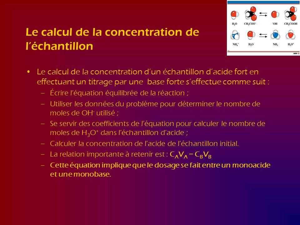 Le calcul de la concentration de léchantillon Le calcul de la concentration dun échantillon dacide fort en effectuant un titrage par une base forte se