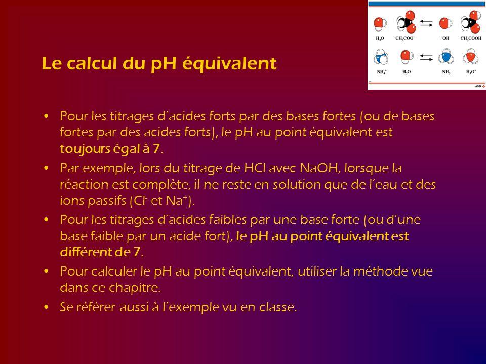 Le calcul du pH équivalent Pour les titrages dacides forts par des bases fortes (ou de bases fortes par des acides forts), le pH au point équivalent e