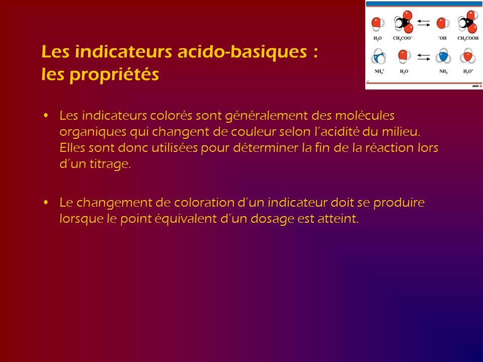 Les indicateurs acido-basiques : les propriétés Les indicateurs colorés sont généralement des molécules organiques qui changent de couleur selon lacid