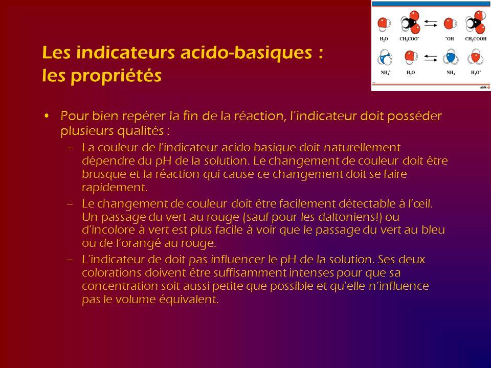 Les indicateurs acido-basiques : les propriétés Pour bien repérer la fin de la réaction, lindicateur doit posséder plusieurs qualités : –La couleur de