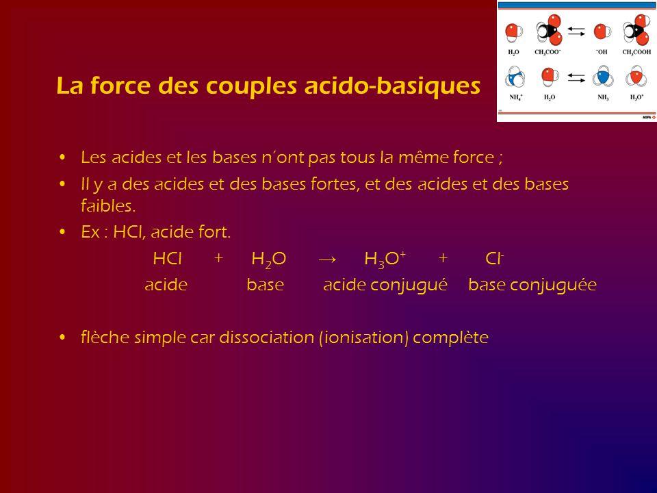 La force des couples acido-basiques Les acides et les bases nont pas tous la même force ; Il y a des acides et des bases fortes, et des acides et des