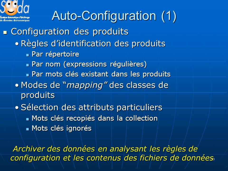 10 Auto-Configuration (1) Configuration des produits Configuration des produits Règles didentification des produitsRègles didentification des produits