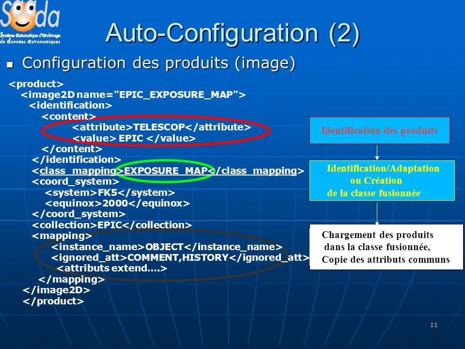 11 Auto-Configuration (2) Configuration des produits (image) Configuration des produits (image) Identification des produits Identification/Adaptation ou Création de la classe fusionnée Chargement des produits dans la classe fusionnée, Copie des attributs communs TELESCOP EPIC EXPOSURE_MAP FK5 2000 EPIC OBJECT COMMENT,HISTORY