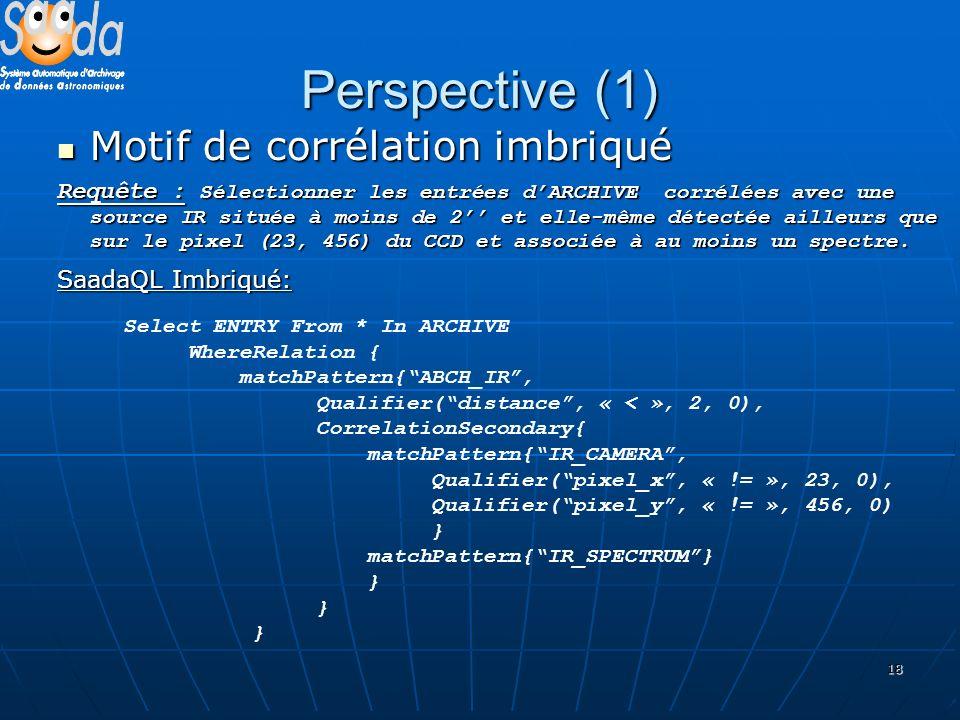 18 Perspective (1) Motif de corrélation imbriqué Motif de corrélation imbriqué Requête : Sélectionner les entrées dARCHIVE corrélées avec une source IR située à moins de 2 et elle-même détectée ailleurs que sur le pixel (23, 456) du CCD et associée à au moins un spectre.